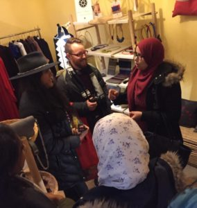 Our American group interacts with the founders of the women's artisan network.