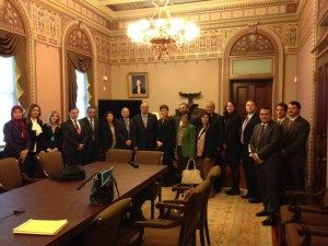 The group gathers in the Eisenhower Executive Building for a meeting with the White House Office of Faith-Based Partnerships